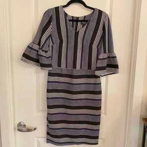 Striped Sheath Dress with Bell Sleeves